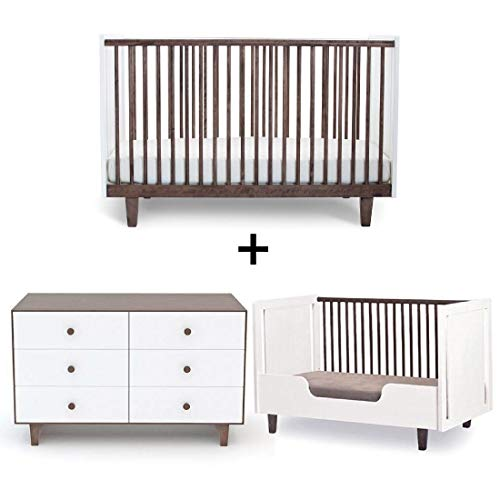 Oeuf Rhea Collection Complete Nursery in Walnut with 6 Drawer Dresser