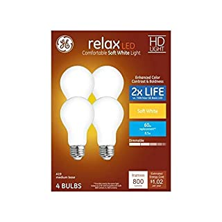 GE Relax 4-Pack 60 W Equivalent Dimmable Warm White A19 LED Light Fixture Light Bulbs