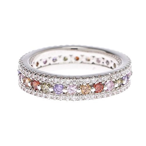 (Multi-Colored Infinity Band Ring - Round center stones made up of garnet, coffee, pink, amethyst, and peridot Cubic Zirconia -Top and bottom layers of delicate clear stones with genuine rhodium)