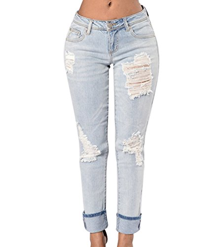Scarni ZKOO Strappati Elastico Pantaloni Bianca Donna Jeans Denim Hole Lunghi Pantaloni Leggings Pantaloni Matita r7wrzqB5