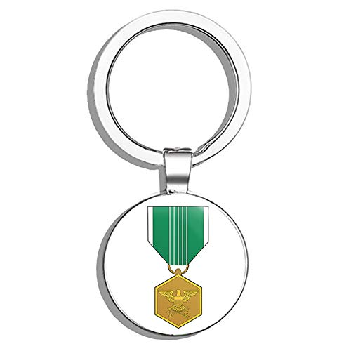 - HJ Media US Army Commendation Medal Metal Round Metal Key Chain Keychain Ring