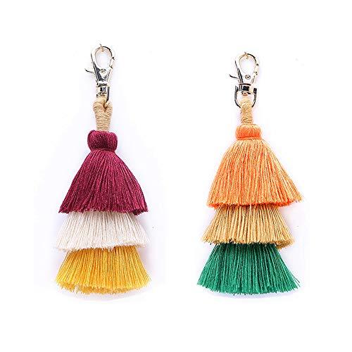 Tassel Pom Pom Key Chain Colorful Boho Charm Key Ring, Fashion Accessories for Women (Q2-2Pcs)