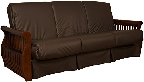 Laguna Perfect Sit & Sleep Pocketed Coil Inner Spring Pillow Top Sofa Sleeper Bed, Queen-size, Walnut Arm Finish, Leather Look Brown Upholstery