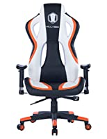 Killbee Large Gaming Chair Ergonomic Computer Chair Swivel Executive Office Chair with Lumbar Support Adjustable Armrest High-Back Leather Bucket Seat Desk Chair (Orange)