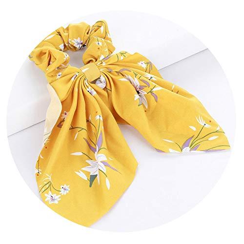 Floral Print Scrunchie Women Dot Hair Scarf Elastic Bohemian Hair Bow Hair Rubber Ropes Girls Hair Ties,0587-B