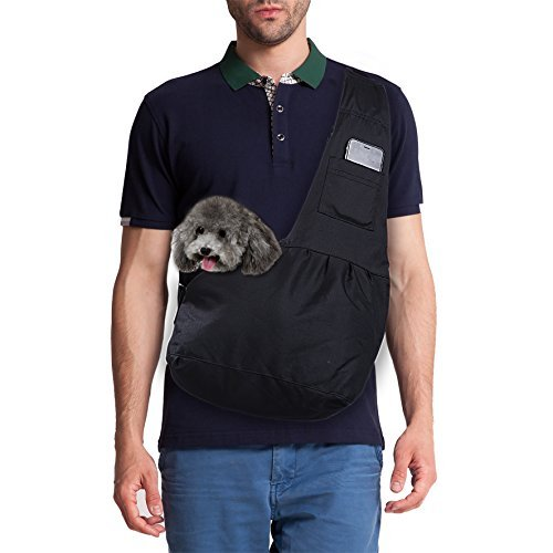 Magift Adjustable Front Pet Sling Carrier for Dogs Cats Small Animals under 6Lbs, Black (Small Dog Carrier)