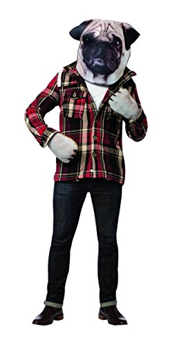 Adult Pug Costume (Rasta Imposta Men's Doggie Kit Head and Paws, Brown, One)