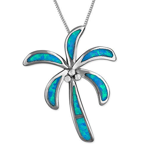 Sterling Silver Synthetic Blue Opal Palm Tree Pendant Necklace, 18 2 Extender