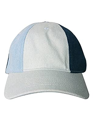 Summer Baseball Cap for Women Hat Canvas Blue White Patchwork Adjustable Snapback Hat