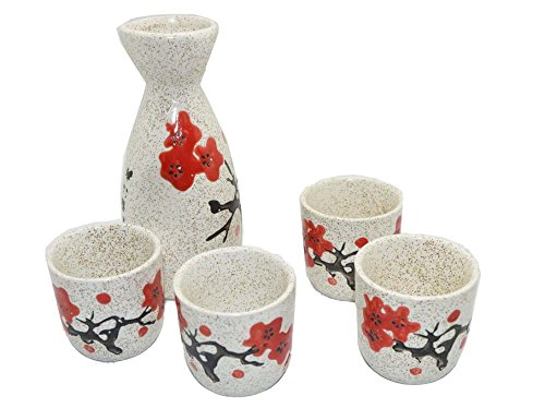 Wine Pot & Cups Set, for Japanese Wine Sake, wine bottle & cup collection (Plum)