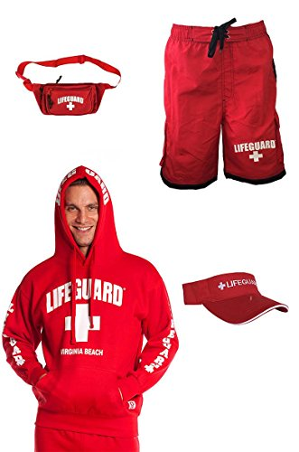 Lifeguard Costumes Shorts (Guys Warm Costume Comes with Lifeguard Hoodie Visor Swim Shorts Fanny pack (Medium))