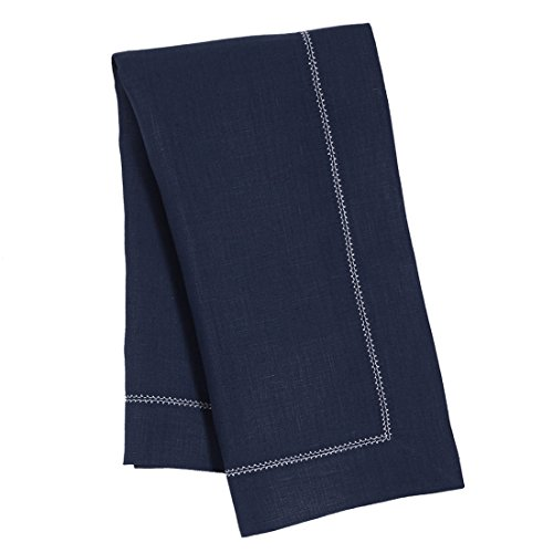 Navy Blue Pure Linen Napkin With Ivory Contrast Hemstitch (Set of Six) by Huddleson Linens