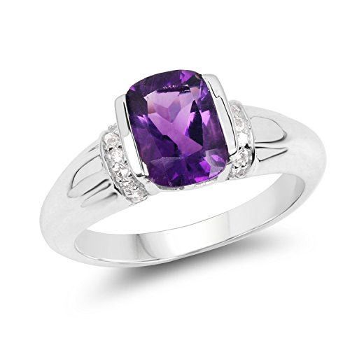 1.37 Carats Genuine African Amethyst and White Topaz Ring Solid .925 Sterling Silver With Rhodium Plating