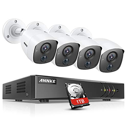 (ANNKE Security Camera System 8 Channel 3MP 5-in-1 H.265+ DVR and 4×1080P HD Weatherproof PIR Surveillance Cameras with Metal Case, Flashing Light Alarm, Email Alert with Snapshots, 1TB HDD Included)