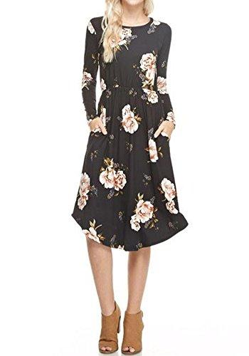 Black Floral Print Dress - 6