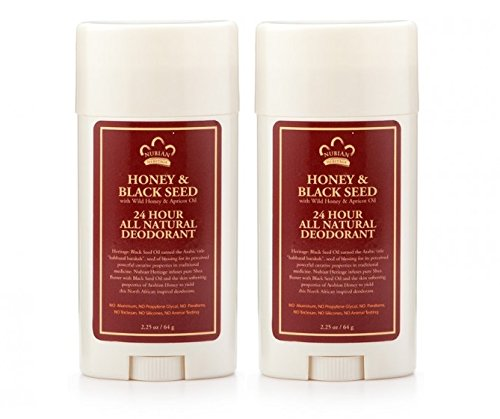 Nubian Heritage Honey and Black Seed Deodorant With Wild Honey, Apricot Oil, Babassu, Carrot and Macadamia Nut Oils, 2.25 oz. (Pack of 2)