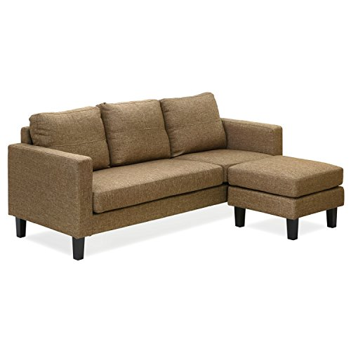 Furinno Simply Home Chaise Sectional Sofa with Ottoman, Brown SF358N1BR