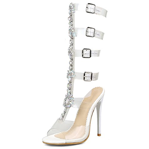 Rhinestone Strap Tall A Mid Calf Women's Concise Gladiator Summer Heel Large Boots Evening White High Sandals DoraTasia Size wtxEUSYx