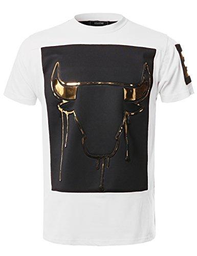 Music Concert Hip-Hop Hipster 3D Gold Foil Print Tee Shirt Top White Size XL ()