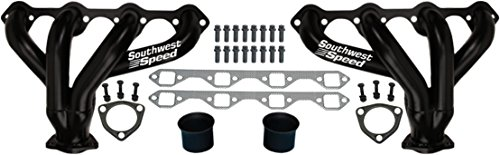 NEW SOUTHWEST SPEED BLACK BLOCK HUGGER SHORTY STYLE HEADERS FOR SMALL BLOCK FORD 260-351 WINDSOR & GT40P V8 ENGINES, 1 5/8