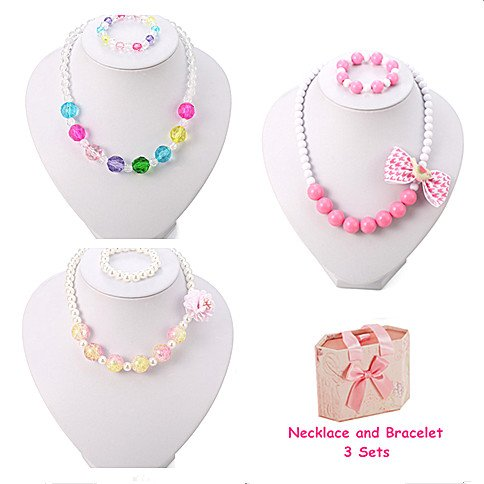 PinkSheep Kids Beaded Necklace and Bracelet 3 Sets, Little Girls Jewelry In Box, Favors Bags For (Fun Jewelry Box)