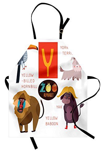Lunarable ABC Kids Apron, Alphabet Y Letter with Animals Yak Yorkshire Terrier Yellow Baboon Playful Student, Unisex Kitchen Bib Apron with Adjustable Neck for Cooking Baking Gardening, Multicolor]()