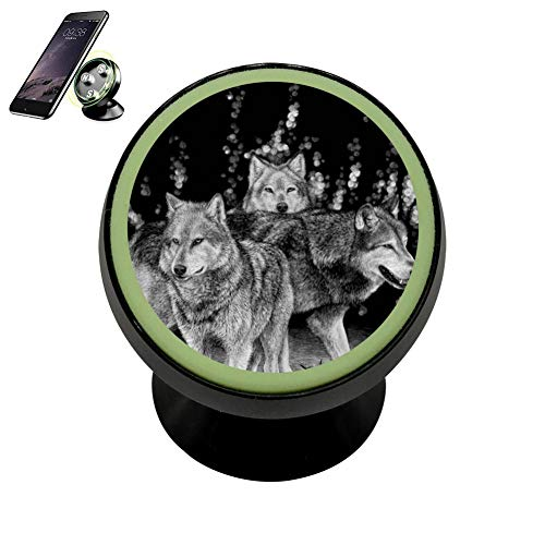 LIHHOLI Alpha Wolf Pack Family Vehicle Phone Mount Magnetic Mobile Phone Car Mount Dashboard Multi-Function Mounts Holder 360 Universal Noctilucent Kit