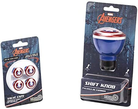 Collectible Official Merchandise Universal Marvel Captain America Car Shift Knob and Valve Cap Accessories Combo Kit