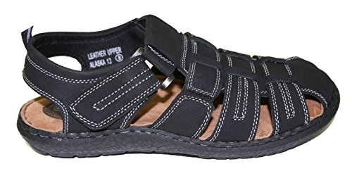 Happy Bull - Suela De Confort De Cuero Para Hombre, Con Cordones, Sandalias Para Caminar Sz 6.5-13 (alaska) (alaska-13) Negro