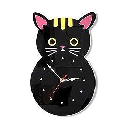 HURDKJ Black White Acrylic Creative Decoration Wall Clock,Easy Read Silent Clock,Cute Kitty Cartoon Oval Clock,Silent Scanning Movement,Home Living Room,Black,Cat