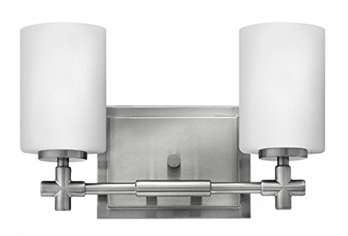 Bathroom Fixtures Lighting Hinkley (Hinkley 57552BN Transitional Two Light Bath from Laurel collection in Pwt, Nckl, B/S, Slvr.finish,)