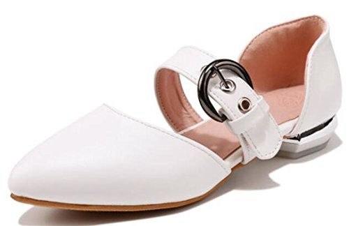 Idifu Womens Doux Bout Pointu Bas Talons Chunky Boucles Pompes Blanches