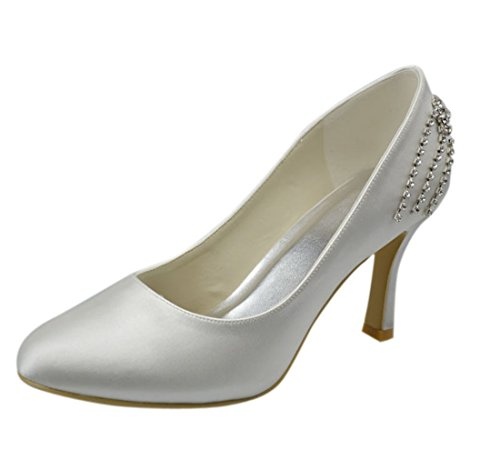 Minishion Dames Stiletto Hoge Hak Satijn Avondfeest Bruids Bruiloft Strass Schoenen Pumps Wit-9cm Hak