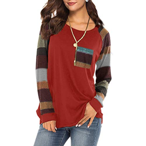 WOCACHI Blouses for Womens, Women Stripe Sleeve Patchwork Casual Top T-Shirt Loose Long Sleeve Top Blouse Side Thong Sets Classic Pure Solid Color Sexy Ribbed Tops Shirts Sports