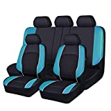 NEW ARRIVAL -HORSE KONGDOM Universal Car Seat Covers Faux Leather With Air-mesh Breathable Aibag Compatible (black with blue)