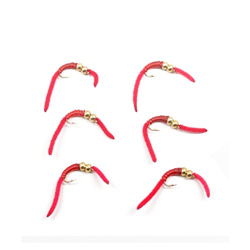 The Fly Fishing Place Trout Nymph Fly - San Juan Worm Power Bead 1/2 Dozen Double Bead Red V-Rib #10 - Set of 6 Beaded Nymph Trout Flies Nymph Wet Flies