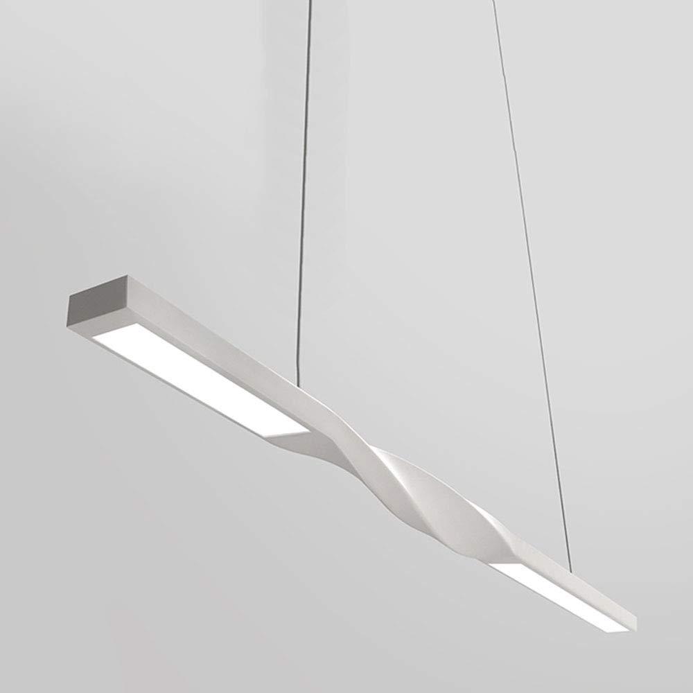 12W LED-Pendelleuchte Büro Kühleweiß Licht Modern Haengeleuchte Bürolampe Lang-Leuchte Weiß Metall Pendellampe Wohnzimmer Decken-Pendel-Lampe,L90CM 6000 Kelvin