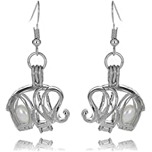 HENGSHENG Pearl Oyster Locket Cage 6-7 mm Freshwater Cultured Oval Pearls Hollow Pendant Dangle Earrings