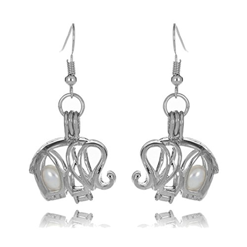 HENGSHENG 6-7 mm Freshwater Cultured Oval Pearls Elephant Shape Cage Locket Pendant Dangle Earrings (Style (Shape Pendant Earrings)