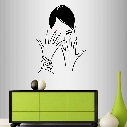 Wall Vinyl Decal Home Decor Art Sticker Beautiful Girl Woman Hair and Nail Salon Manicure Fashion Style Beauty Spa Room Removable Stylish Mural Unique Design 2416 by In-Style Decals (Image #2)