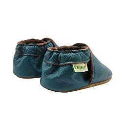 Sayoyo Lowest Best Baby Soft Sole Prewalkers Skid-resistant Baby Toddler Shoes Cowhide Shoes (6-12 months, Darkcyan)