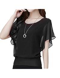 M-Egal Women's Summer Chiffon Tee Top Batwing Short Sleeve Shirt Loose Casual Blouse