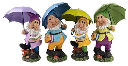 38,5 cm Gartenzwerg, Zwerg, Gnom mit Schirm in 4 verschiedenen Ausführungen Gartendeko