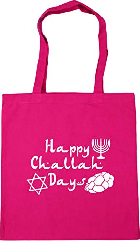 Gym litres Happy Shopping Beach Hanukkah Challah Fuchsia HippoWarehouse Tote x38cm 42cm 10 Bag Days 6x1YZnq
