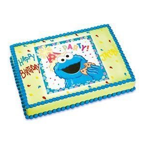 2 Round Sesame Street S Cookie Monster Edible Image Cake Cupcake Topper