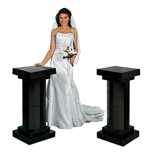 Fun Express - 3' Black Fluted Pillars (2pc) for Party - Party Decor - Large Decor - 3 - D Stand Ups - Party - 2 Pieces -