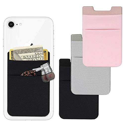 Cell Phone Card Wallet, AFUNTA 4 Pcs Lycra Adhesive Card Holder Wallet for ID Card/Credit Card, Phone Sleeves Pocket Compatible with Most of Smart Phone - Black/Pink/Gray ()