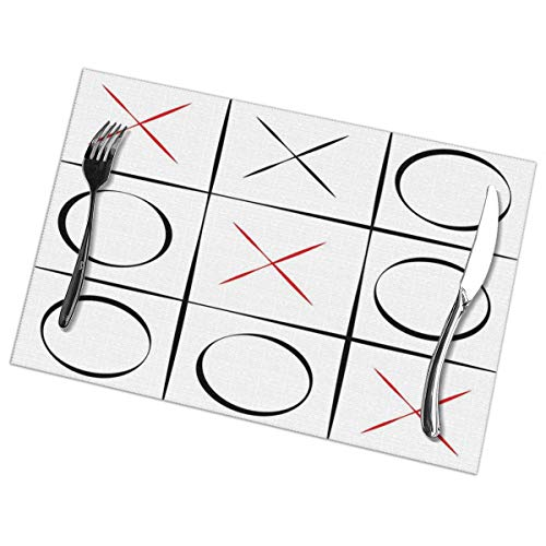 VANMASS Xo Tic Tac Toe Placemats for Dining Table Set of 6 Heat Insulation Stain Resistant Non Slip