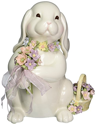 Porcelain Musical - Cosmos SA49123 Fine Porcelain Bunny with Flower Bouquet Musical Figurine, 8-Inch