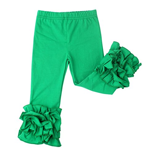 Slowera Little Girls' Ruffle Leggings Baby Toddler Solid Color Flower Pants (Green, XL: 5-6 Years) -